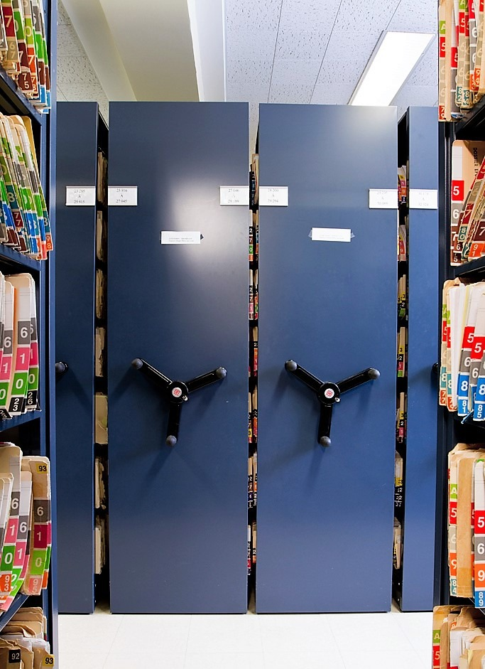 Mobile shelving storage system for healthcare sector.