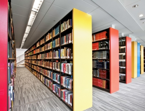 Configurable library storage and shelving system Hybria®